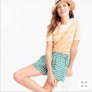 J Crew Gingham Linen Shorts Green Side Tie Medium